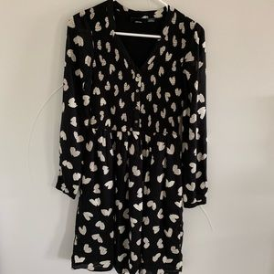 Anthro black heart long sleeve dress